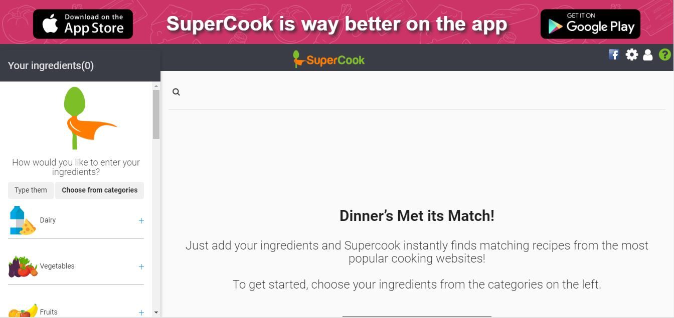Supercook wants to make life easier for everyone who cooks at home! Our mission is to enable smarter, quicker decisions about what recipes to make and what ingredients to use using advanced technology and all the recipe content on the web.